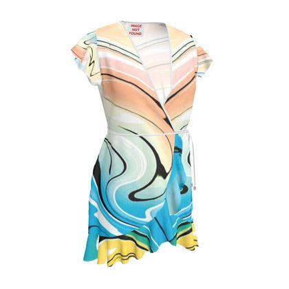 Tea Dress - Multicolour Swirling Marble Pattern 10 of 12