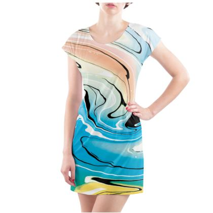 Ladies Tunic T Shirt - Multicolour Swirling Marble Pattern 10 of 12