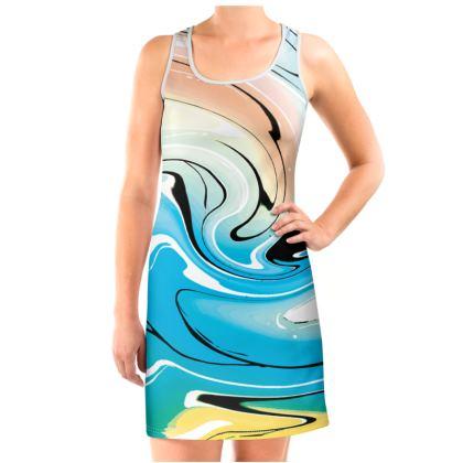 Vest Dress - Multicolour Swirling Marble Pattern 10 of 12