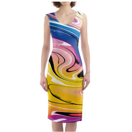 Bodycon Dress - Multicolour Swirling Marble Pattern 12 of 12