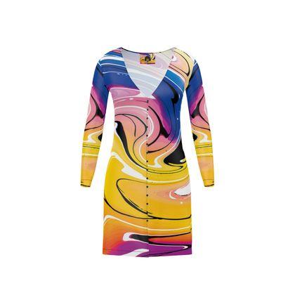 Short Ladies Cardigan - Multicolour Swirling Marble Pattern 12 of 12