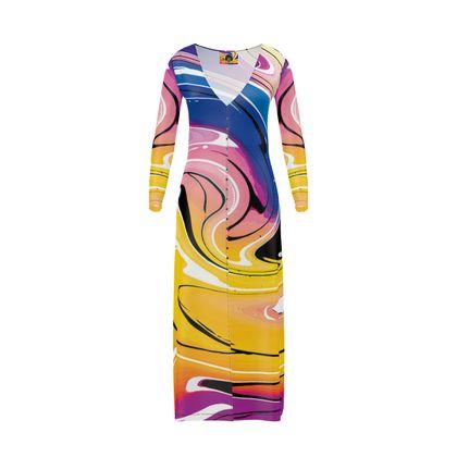 Long Ladies Cardigan - Multicolour Swirling Marble Pattern 12 of 12