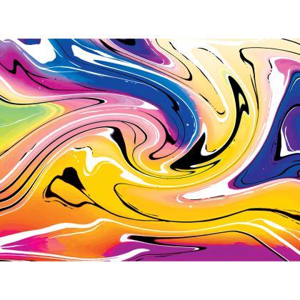 Knee Length Flared Skirt - Multicolour Swirling Marble Pattern 12 of 12