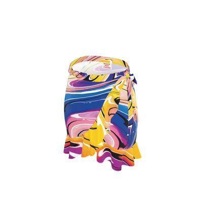 Short Flounce Skirt - Multicolour Swirling Marble Pattern 12 of 12