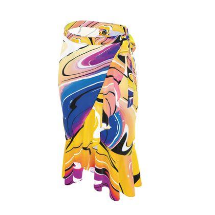 Long Flounce Skirt - Multicolour Swirling Marble Pattern 12 of 12