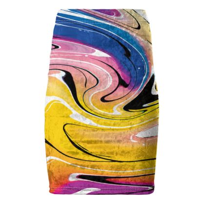 Pencil Skirt - Multicolour Swirling Marble Pattern 12 of 12