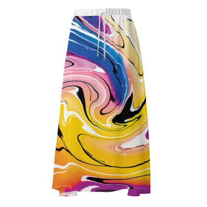 Maxi Skirt - Multicolour Swirling Marble Pattern 12 of 12