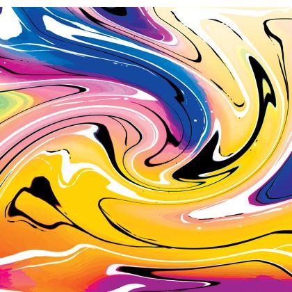 Short Slip Dress - Multicolour Swirling Marble Pattern 12 of 12