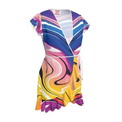 Tea Dress - Multicolour Swirling Marble Pattern 12 of 12
