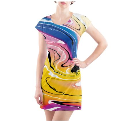 Ladies Tunic T Shirt - Multicolour Swirling Marble Pattern 12 of 12