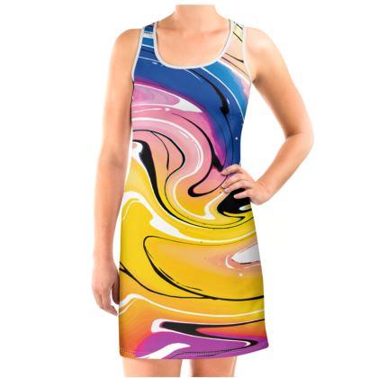 Vest Dress - Multicolour Swirling Marble Pattern 12 of 12