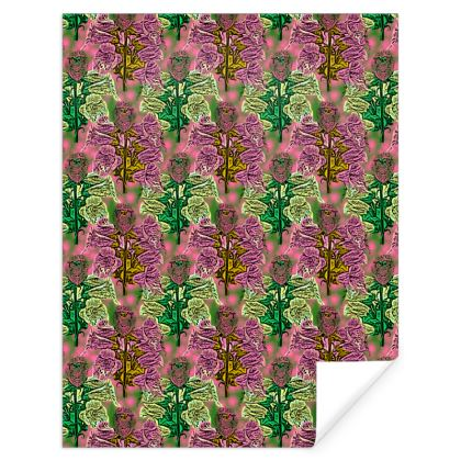 Pink, Grey Gift Wrap  Foxglove  Tropical