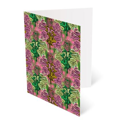 Pink, Green Occasions Cards  Foxglove  Tropical