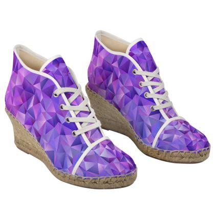 Ladies Wedge Espadrilles - Purple Prisms