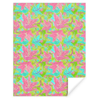 Pink, Green Gift Wrap  Lily Garden  Dragonfly