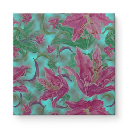 Pink, Teal Square Canvas Wholesale  Lily Garden  Ravel