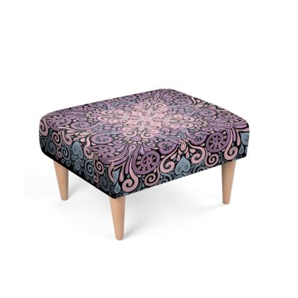 Footstool with Purple Pink and Blue Watercolor Pattern