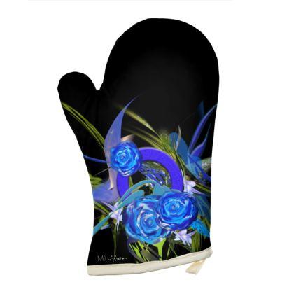 Oven Glove - Grytvante - Blue flower black