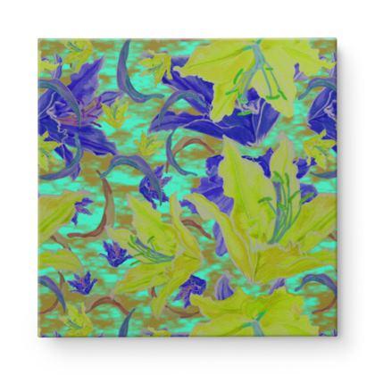 Blue yellow Square Canvas Wholesale  Lily Garden  Lemon Lily