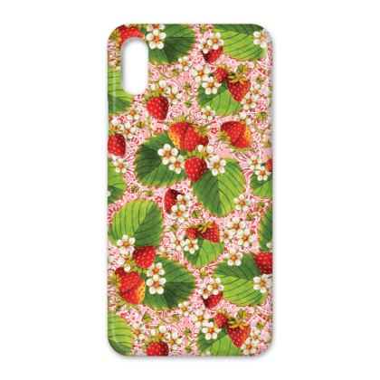 Pink Paisley Strawberries Allover iPhone X Case