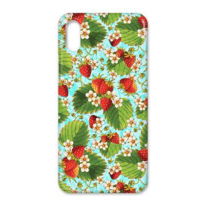 Strawberries on Aqua iPhone X Case
