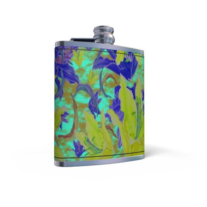 Yellow, Blue Leather Wrapped Hip Flask  Lily Garden  Lemon Lily