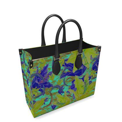 Yellow, Blue Leather Shopper Bag  Lily Garden  Lemon Lily