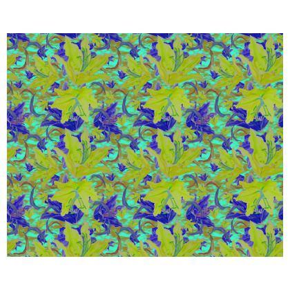 Yellow, Blue Kimono  Lily Garden  Lemon Lily
