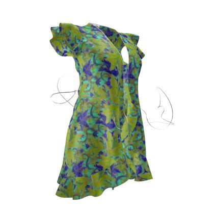Yellow, Blue floral Tea Dress  Lily Garden  Lemon Lily