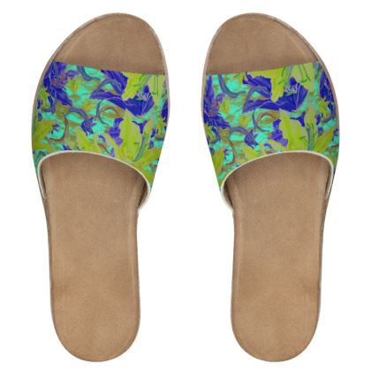 Yellow, Blue Womens Leather Sliders  Lily Garden  Lemon Lily