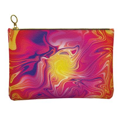Leather Clutch Bag - Eye of the Marble Sun 1