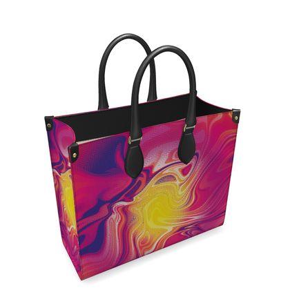 Leather Shopper Bag - Eye of the Marble Sun 1