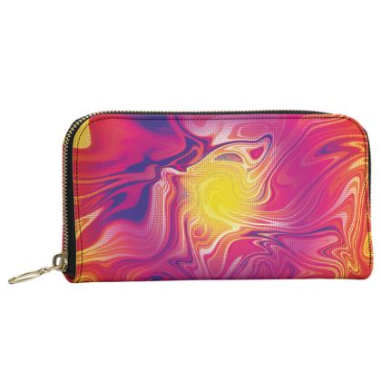 Leather Zip Purse - Eye of the Marble Sun 1