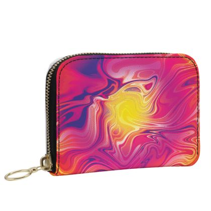 Small Leather Zip Purse - Eye of the Marble Sun 1