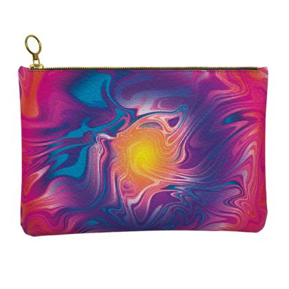 Leather Clutch Bag - Eye of the Marble Sun 2