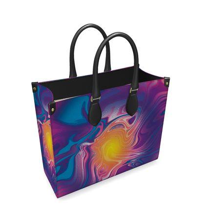Leather Shopper Bag - Eye of the Marble Sun 2