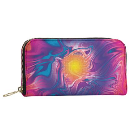 Leather Zip Purse - Eye of the Marble Sun 2