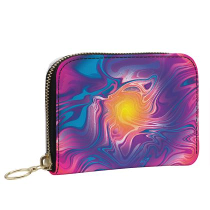 Small Leather Zip Purse - Eye of the Marble Sun 2
