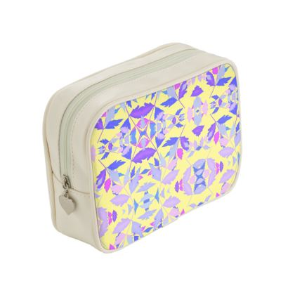 Pastel blue, pink, Make Up Bags  Cathedral Leaves  Custard Cream