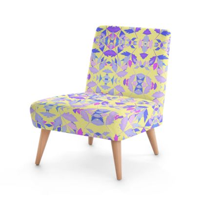 Blue, Pink Occasional Chair  Cathedral Leaves  Custard Cream