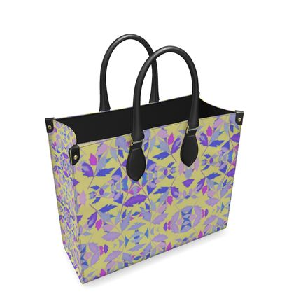 Blue, Pink Leather Shopper Bag Cathedral Leaves  Custard Cream