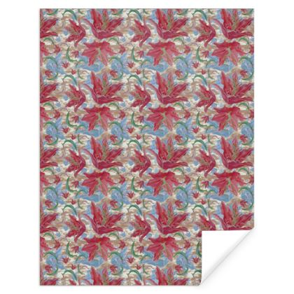 Pink, Blue Gift Wrap  Lily Garden  Cup of Cocoa