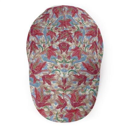 Red, Blue Baseball Cap  Lily Garden  Cup of Cocoa