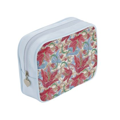Red, Blue Make Up Bags Lily Garden  Cup of Cocoa