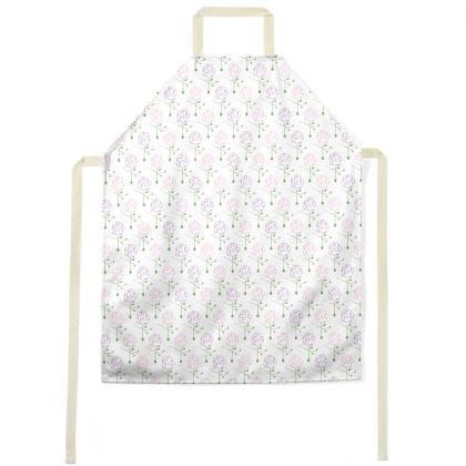 Dainty Spring Florals Pattern ~ Pink and Purple [WHITE] Apron