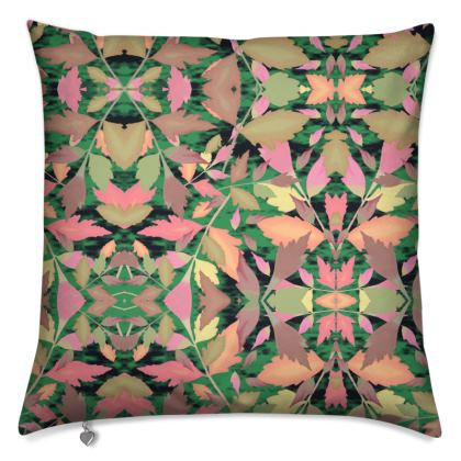 Black, Multi Cushions  Cathedral Leaves  Woodland