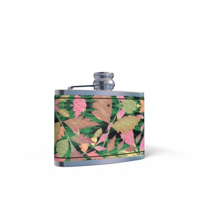 Black, Multi Leather Wrapped Hip Flask Cathedral Leaves  Woodland
