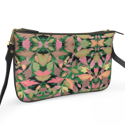 Black, Multi Pochette Double Zip Bag  Cathedral Leaves  Woodland