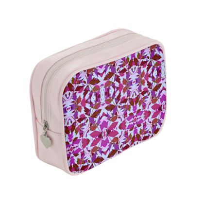 Pink, Mauve Make Up Bags  Cathedral Leaves   Anemone