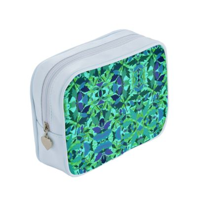 Green, Blue Make Up Bags  Cathedral Leaves  Rainforest